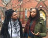 Cofounders of the Black Lives Matter movement Alicia Garza and Opal Tometi spoke with members of the press before the event. (WHCU/Sara McCloskey)